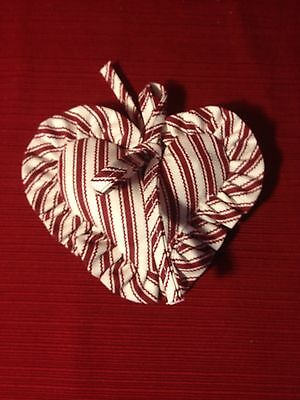 Longaberger Sweetheart Collection ~RED TICKING~LARGE Fabric HEART TIE ON ~ NEW!