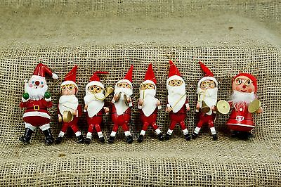 Vintage Wooden Santa Musical Figures Set 8 Christmas Ornament Cymbals Drummer C3