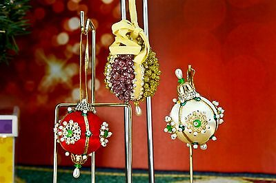 Vintage Hand Made Beaded Sequin Satin Beads Pearls Christmas Ornament Set 3