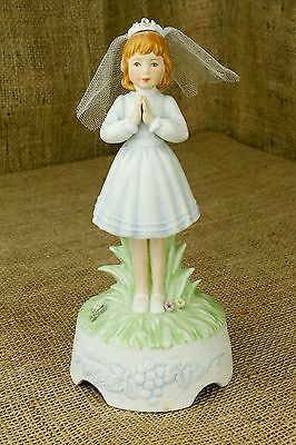 """First Holy Communion Faith Religious Musical Girl Figurine Bisque Roman  8"""" V"""