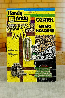 Handy Andy Ozark Memo Holders Thermometer Magnets Boy Fishing 3 pk Vintage