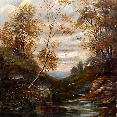 Early 19Th Century Oil On Canvas Fascinating Forest Creek Painting