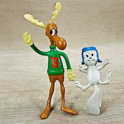 Jesco Rocky Squirrel & Bullwinkle Moose Rubber Poseable Figures VIntage 1985