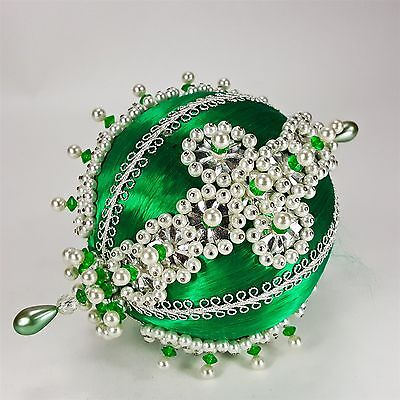 """Vintage Beaded Silver Sequins Faux Pearls Green Satin 6"""" Christmas Ornament"""