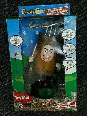 Caddy Cracks animated talking bank new in box golfing golf bag funny