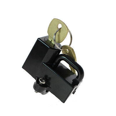 "Motion Pro Universal 7/8"" Black Motorcycle Helmet Lock With 2 brass keys"