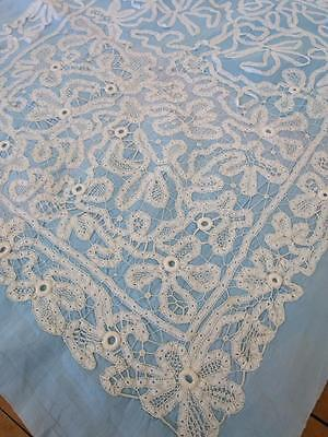 Interesting Antique Part Worked Bramscombe Tape Lace Pillow Sham/ Cushion