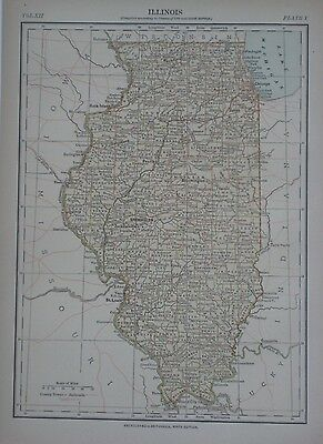 Original 1881 Canal Map Illinois Chicago Lasalle Peru Railroads