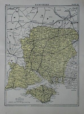 Original 1881 Map HAMPSHIRE England Southampton Portsmouth Isle of Wight Newport