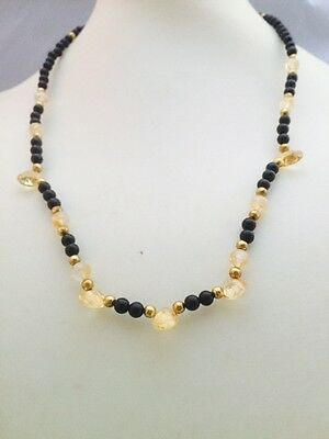 Faceted Citrine & Black Onyx Necklace Handmade Healing Spiritual ONE ONLY MADE