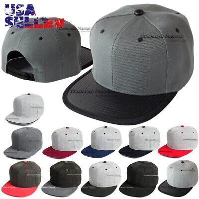 Baseball Cap Plain Snapback Adjustable Hat Flat Bill Casual Solid Hats Mens Caps