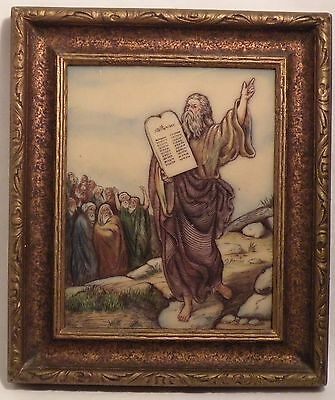 Vintage Framed Artini Dimensional Engraving - Moses & 10 Commandments 2 Tablets