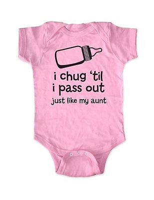 i chug 'til i pass out just like my aunt funny baby one piece bodysuit gift