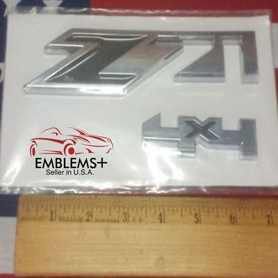 Chrome and Red Z71 4x4 Emblems GMC Chevy Silverado Sierra Tahoe Suburban 1 pc
