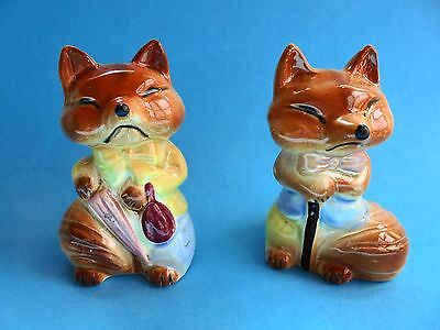 Vintage Fox Salt And Pepper Shakers - Japan
