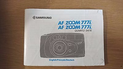 SAMSUNG AF ZOOM 777i  camera instruction book (only)