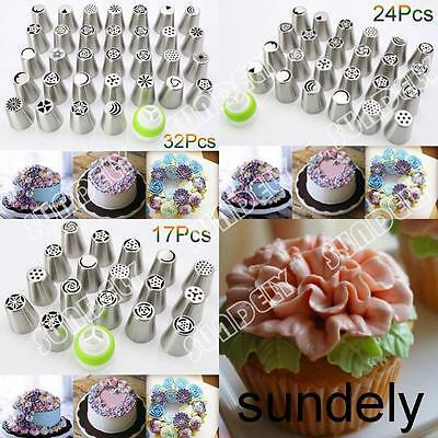 17/24/32Pcs Russian Tulip Icing Piping Nozzle Set Cake Cupcake Decoration Tips