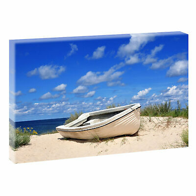 Boot am Strand-  Edel Meer Nordsee  Leinwand Poster XXL 120 cm*80 cm 658a