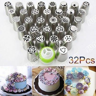 NEW! 32Pcs Russian Tulip Icing Piping Nozzle Tips Flower Cake Decorating Tool