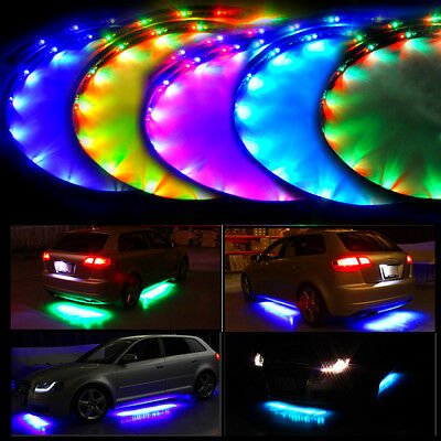 Lychee 7 Color LED Under Car Glow Underbody System Neon Lights Kit w/Sound Activ