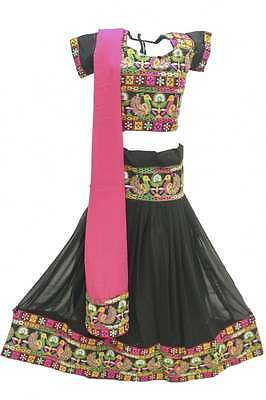 GCT2213 Black and Deep Pink Girl's Chaniya Choli Navratri Chaniya Choli