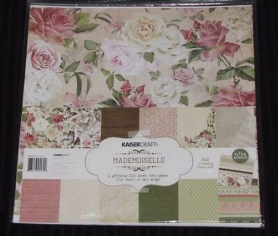 "Kaisercraft 'MADEMOISELLE' 12x12"" Paper Pk + Stickers Floral/Roses/Girly KAISER"