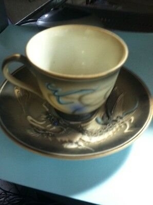 Hand Painted Japan Mini Raised Dragon Cup And Saucer