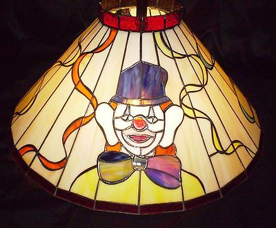 Vintage Clown Stained Glass Applebee's Clown Light Fixture Chandelier Shade Only