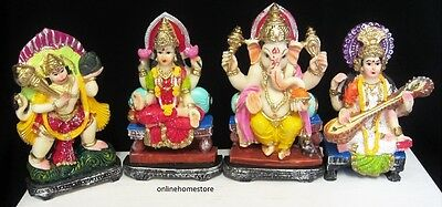 Hindu  Deity  4 Different God & Goddess Murti In  Colour Statue  In Resins