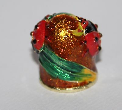 Russian metal thimble in hand painted ladybug