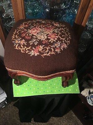 Vintage Wood Stool With Brass Wheels