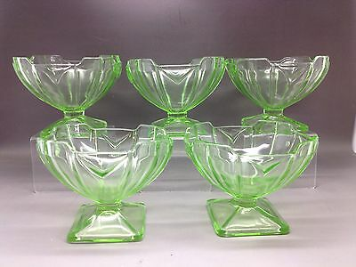 5 Vintage Green Pressed Glass Sundae Dishes