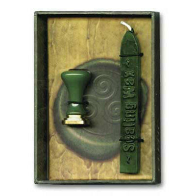 Celtic Sealing Wax Kit with Triskele GREEN - Stamp Letters and Scrolls!