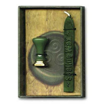 NEW Celtic Sealing Wax Kit with Triskele GREEN - Stamp Letters and Scrolls!
