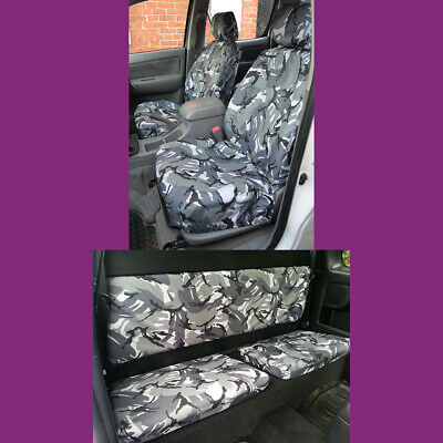 Grey Camo Tailored Front & Rear Seat Covers for Toyota Hilux Extra Cab 2005-2016