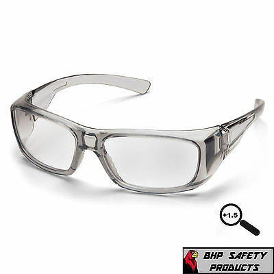 Pyramex Emerge Gray 1.5 Clear Full Magnifying Lens Reader Safety Glasses Z87+