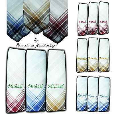 Personalised Handkerchief 100% Cotton Embroidered Any Name Hankies Men Lady