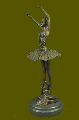 Bronze Ballerina Stretching Statue With Marble Base Art Nouveau Home Decor Deal