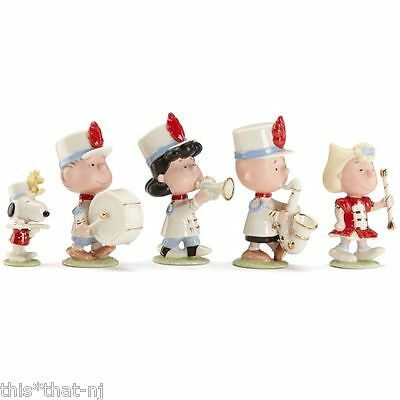 Lenox Peanuts Snoopy 5-Piece Marching Band Figurine Set NEW MSRP $250