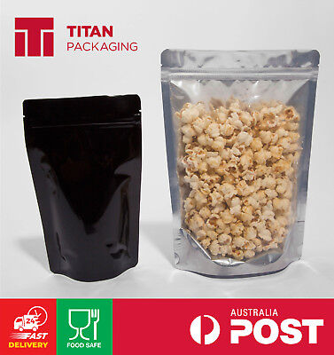 Clear/Foil/Black Stand Up Pouches 150g 250g 500g 750g Resealable Zip Tear Notch