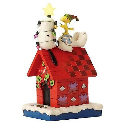 "THE PEANUTS Scultura ""SNOOPY & WOODSTOCK Merry e Luminoso"" Jim Shore 4052719"