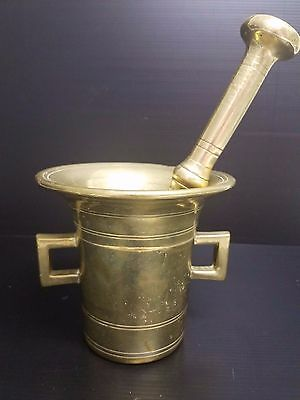 Antique Solid Brass Mortar and Pestle Apothecary / Doctors Office - HEAVY