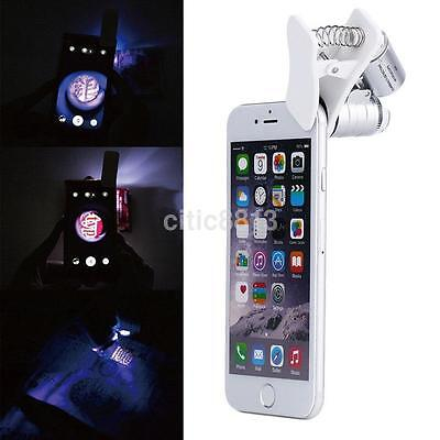 60X Zoom LED Clip-On Microscope Magnifier Micro Lens for Universal Mobile Phone