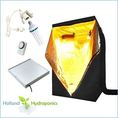 Hydroponics Setup Grow Tent 130w CFL Bulb LED 225 Panel Tent Grow Room Kit Timer