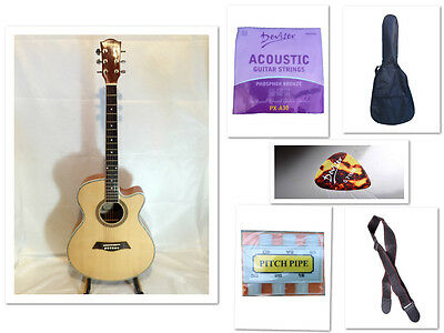 "New 40"" Beginner Acoustic Guitar With Case, String, Strap, Tuner, Pick Natural"