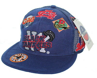 NEW NY Black Yankees Negro League Fitted Hat Embroidered Mesh Back Cap - Navy