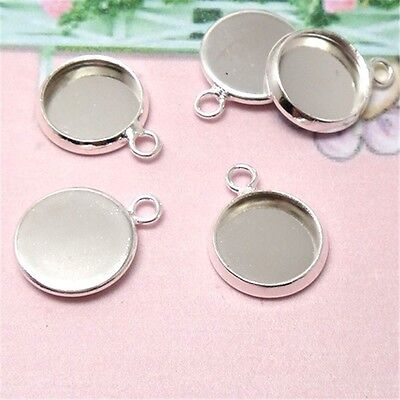 Multi-Size One Circle Silver Round Cabochon Base Pendant Jewelry Connector  10x
