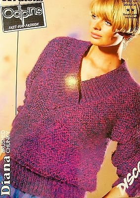 "#177 Lady's Odpins Brushed Chunky Sweater Vintage Knitting Pattern 30-40"" 76-102"