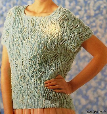 "#179 Lady's DK Lacy Top Vintage Knitting Pattern 30-42"" 76-107cm"