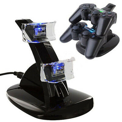 A DUAL USB Dock Charging LED Controller Chargers For Sony PS4 Playstation Useful